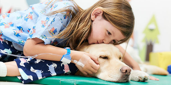 Pediatric          patient kissing dog